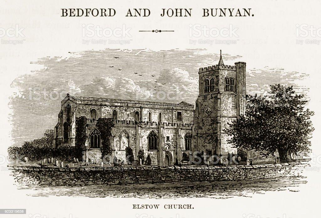 Elstow Church in Bedford, England Victorian Engraving, 18 vector art illustration