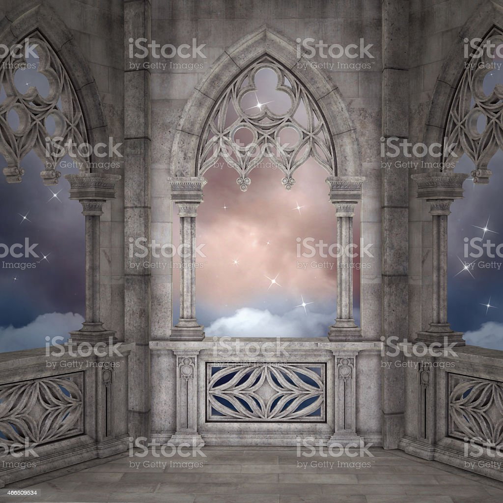 Elven terrace background vector art illustration