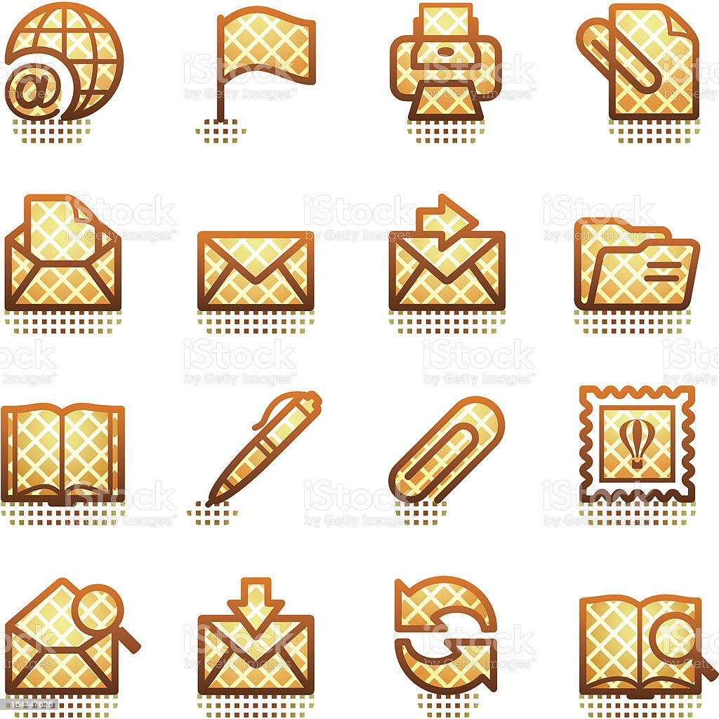 E-mail icons. Brown series.