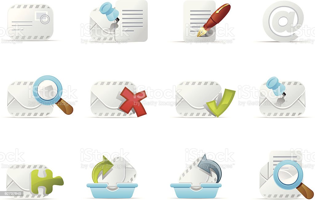 Email Icons - Emailo set 3 royalty-free stock vector art