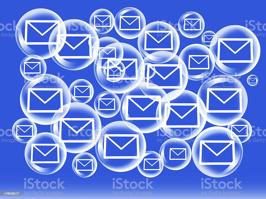 E-mail on water bubbles royalty-free stock vector art