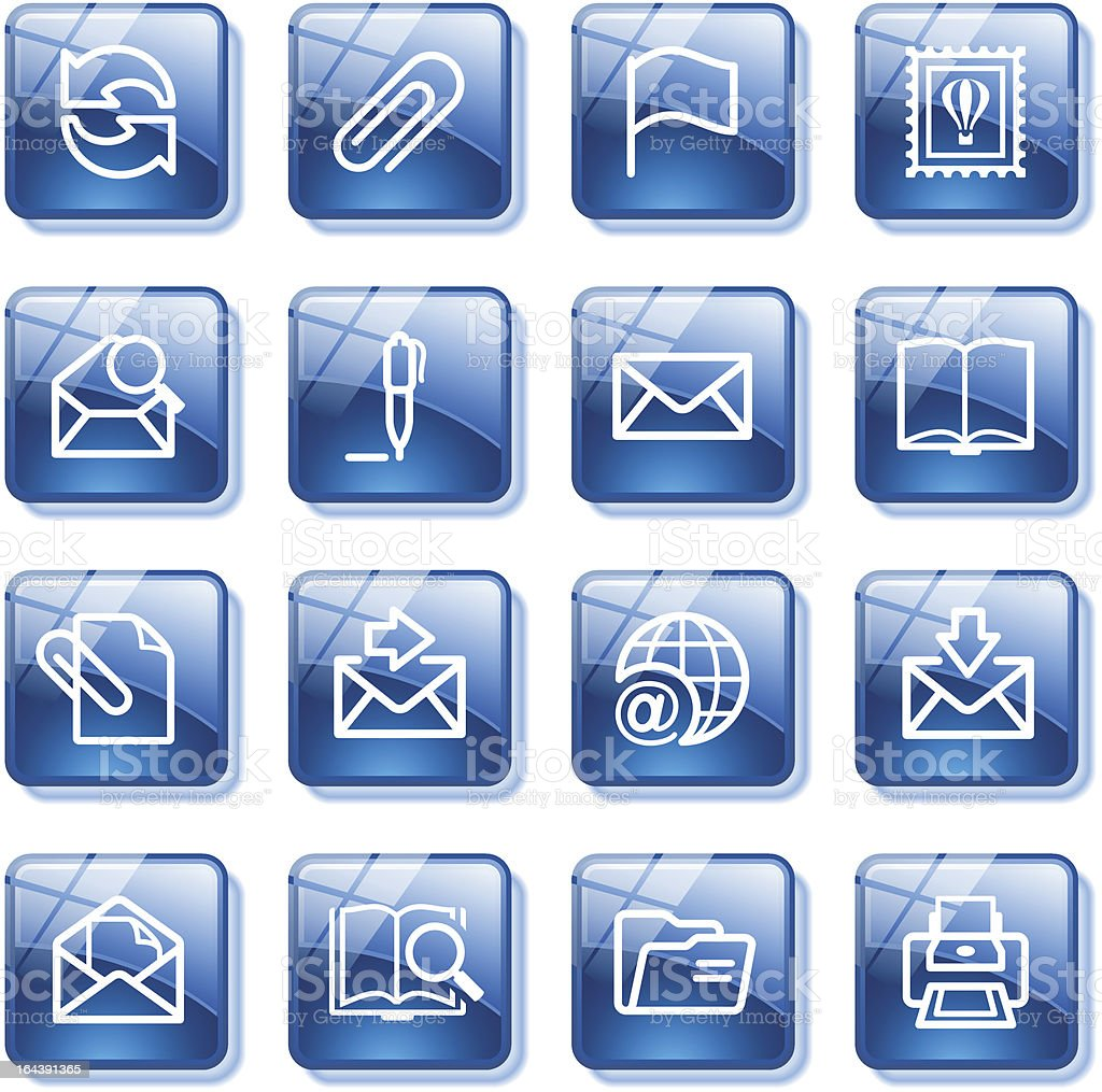 E-mail web icons. Blue glass buttons series. royalty-free email web icons blue glass buttons series stock vector art & more images of arts culture and entertainment
