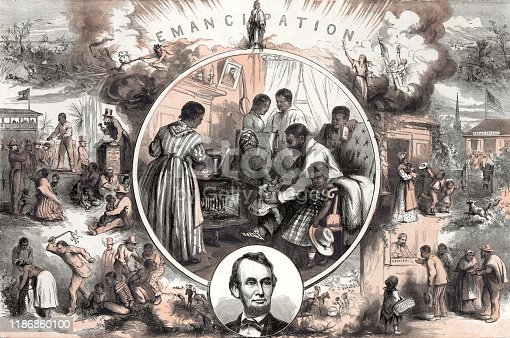 Vintage illustration represents the emancipation of Southern slaves at the end of the American Civil War. This image contrasts the life of a slave and that of a free man's life.