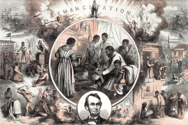Emancipation after the American Civil War Vintage illustration represents the emancipation of Southern slaves at the end of the American Civil War. This image contrasts the life of a slave and that of a free man's life. civil rights stock illustrations