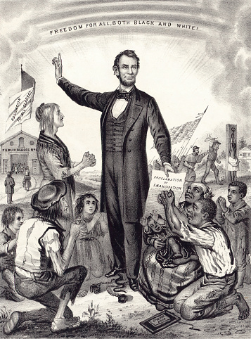 Vintage illustration features President Abraham Lincoln holding the Emancipation Proclamation and declaring that all persons held as slaves shall be free, effective as of January 1, 1863.