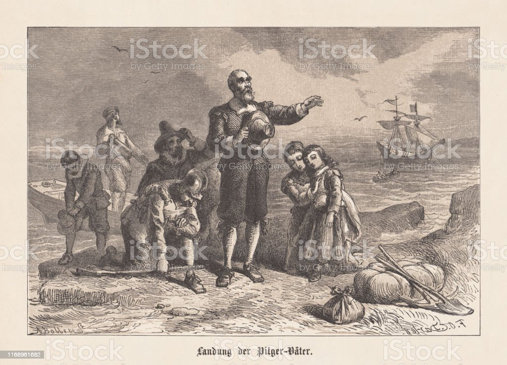 アメリカの巡礼者の乗船1620年1876年に出版 - 17世紀のベクターアート ...