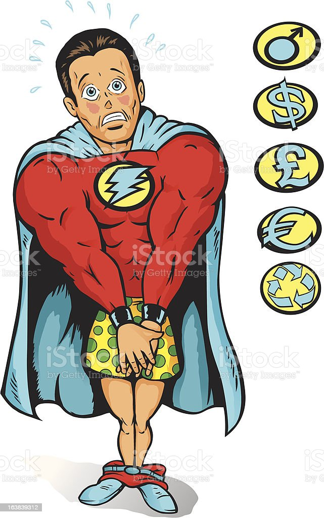 Embarrassed Super guy royalty-free stock vector art