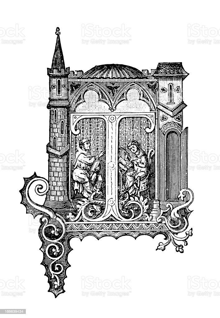 Embellished Letter T - Antique Engraving royalty-free stock vector art