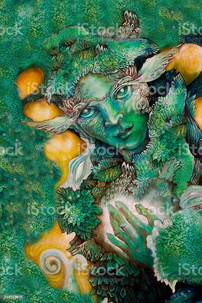 Emerald Green Fairy Creature Painting With Healing Energy