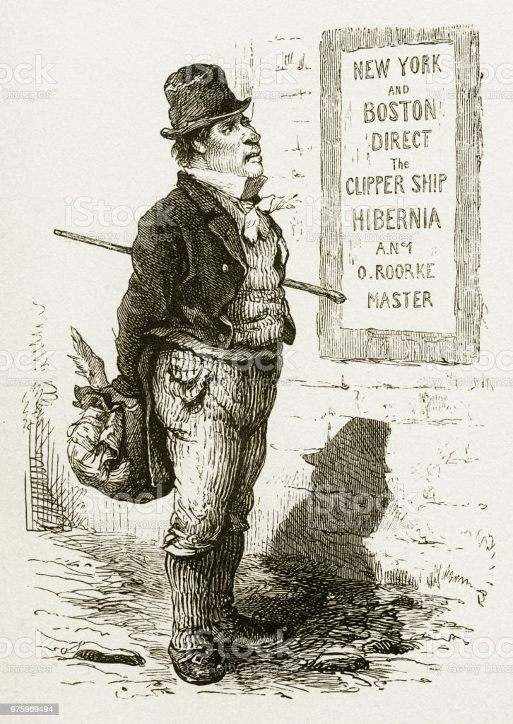 Emigrant Looking at a Travel Advertisement Victorian Engraving vector art illustration