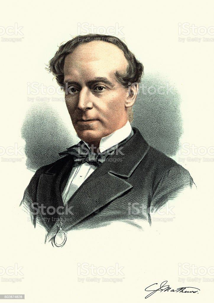 Eminent Victorians - Portrait of Charles James Mathews vector art illustration