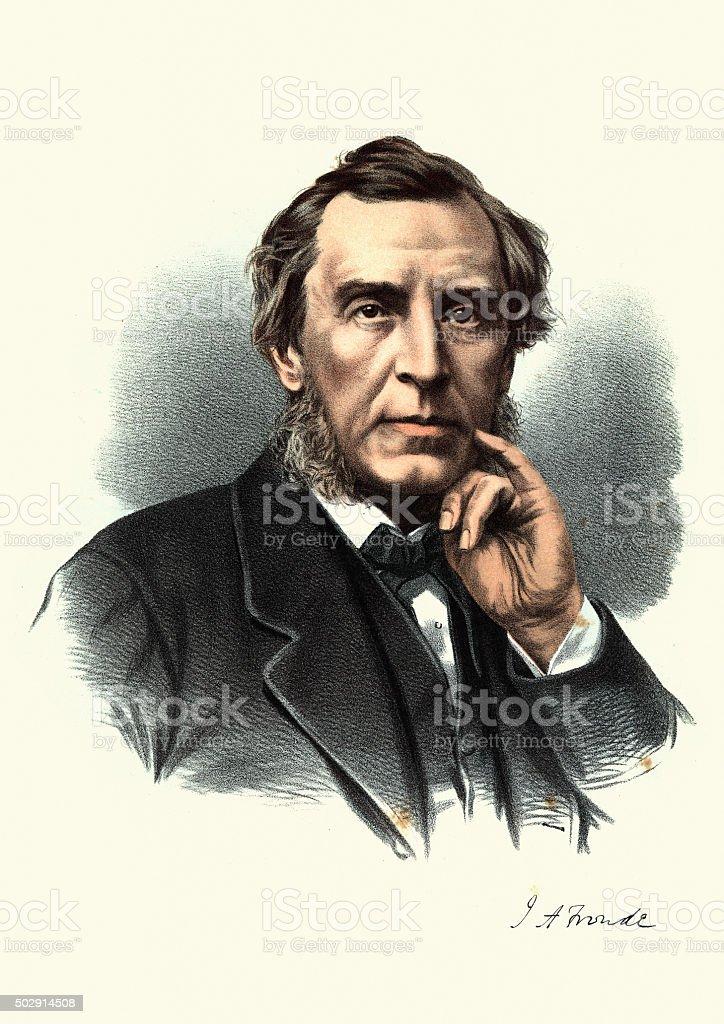 Eminent Victorians - Portrait of James Anthony Froude vector art illustration