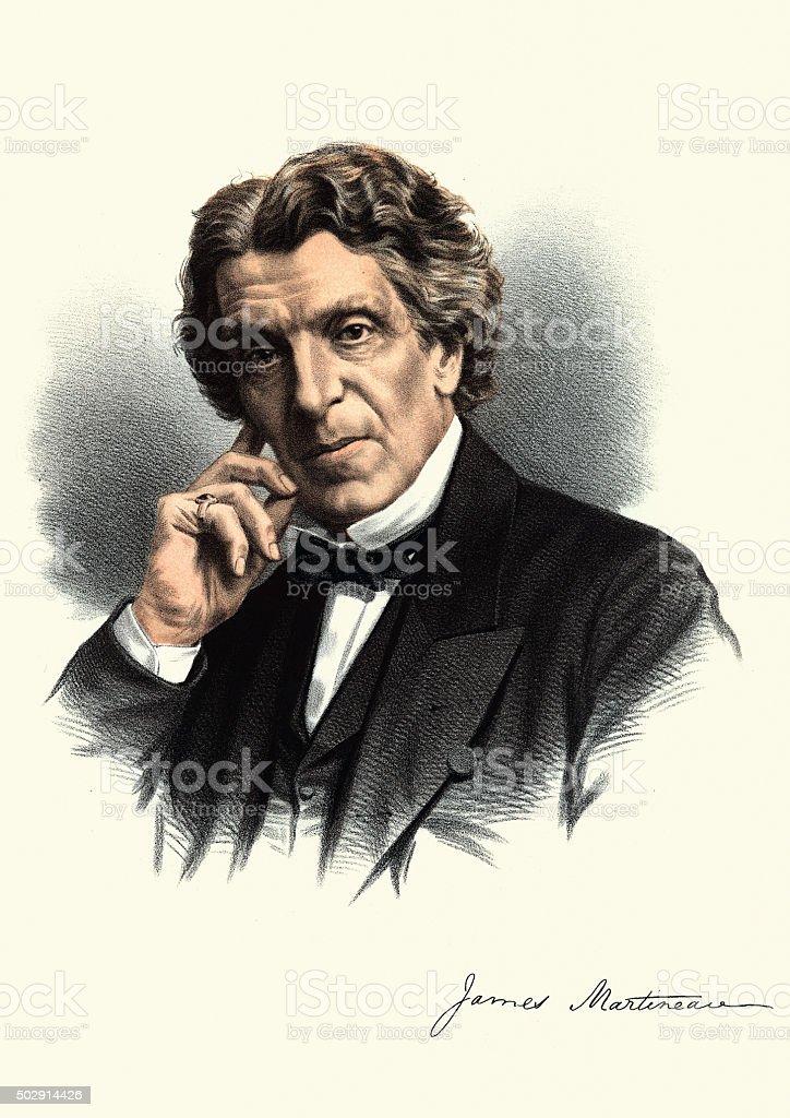 Eminent Victorians - Portrait of James Martineau vector art illustration