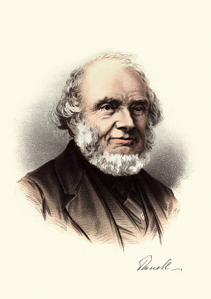 eminent victorians - portrait of john russell, 1st earl russell - old man portrait drawing stock illustrations, clip art, cartoons, & icons