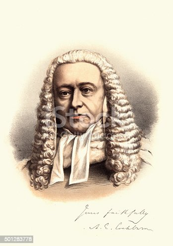 Vintage engraving of Sir Alexander Cockburn, 12th Baronet.  A Scottish jurist and politician who served as the Lord Chief Justice for 21 years. A notorious womaniser and socialite, he heard some of the leading causes celebres of the nineteenth century.