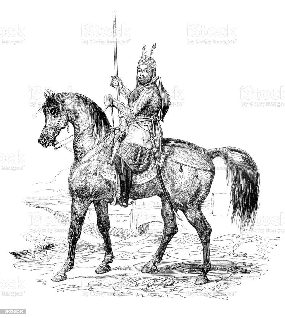 Emir general Amir Akbar Khan on horse 1843 vector art illustration