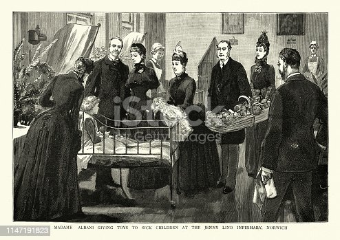 Vintage engraving of Emma Albani giving toys to sick children at the Jenny Lind Infirmary, Norwich, England, 19th Century. Dame Emma Albani, was a leading opera soprano of the 19th century and early 20th century, and the first Canadian singer to become an international star