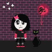 Emo girl with her cat