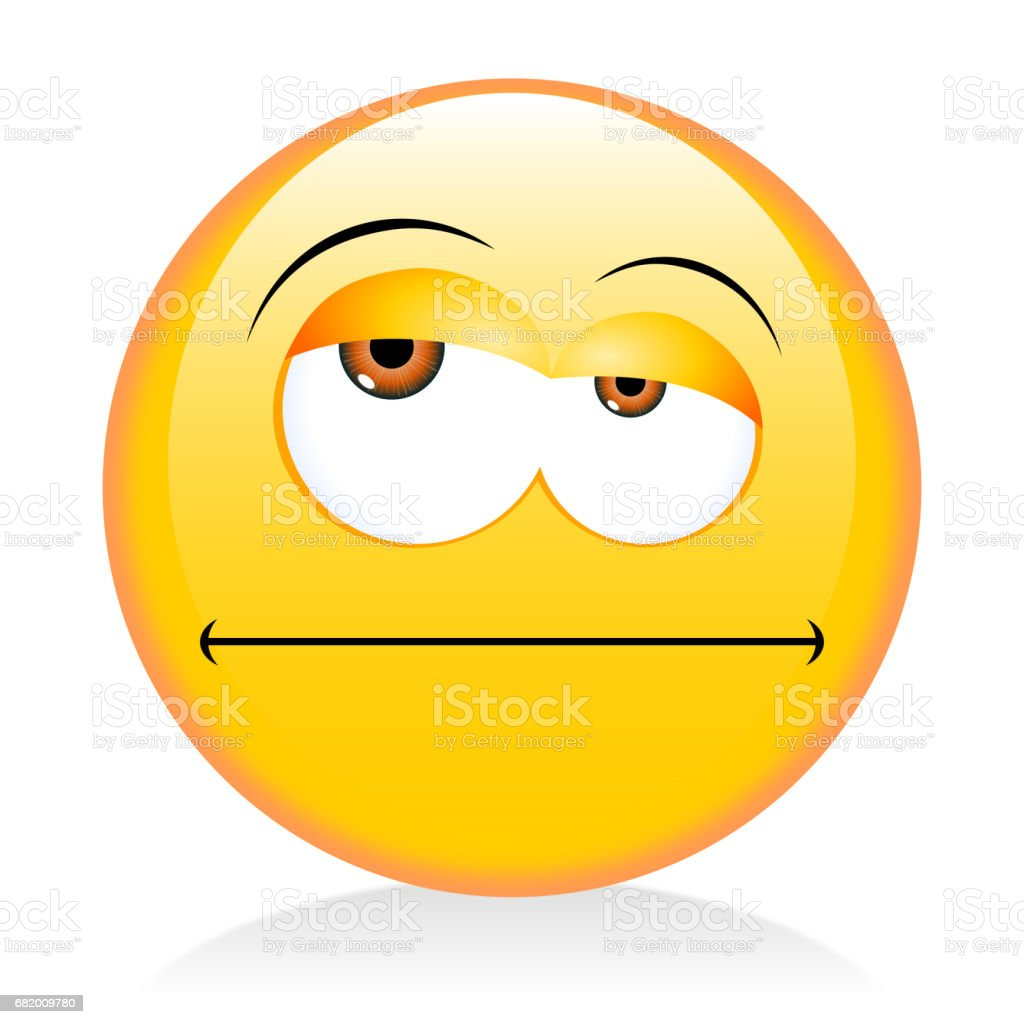 Emoji, emoticon - grumpy vector art illustration