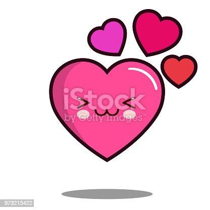 Emoticon Cute Love Heart Cartoon Character Icon Kawaii Flat Design