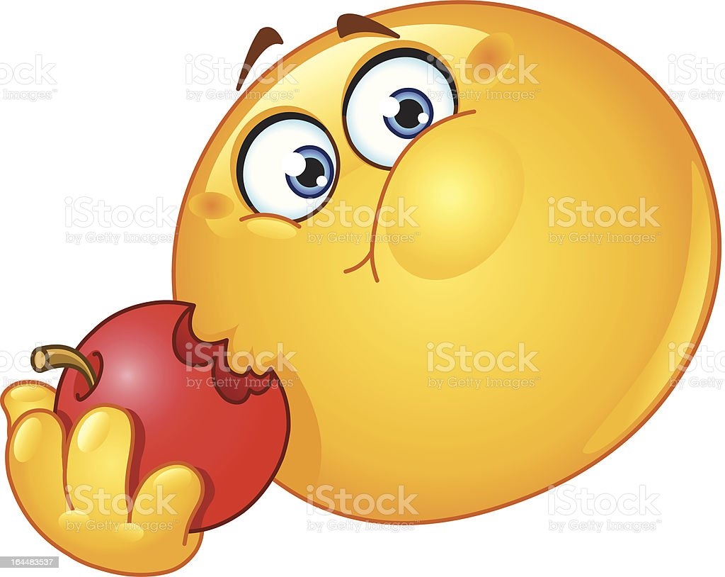 emoticon eating apple stock vector art more images of rh istockphoto com Winking Smiley Face Clip Art Excited Smiley-Face
