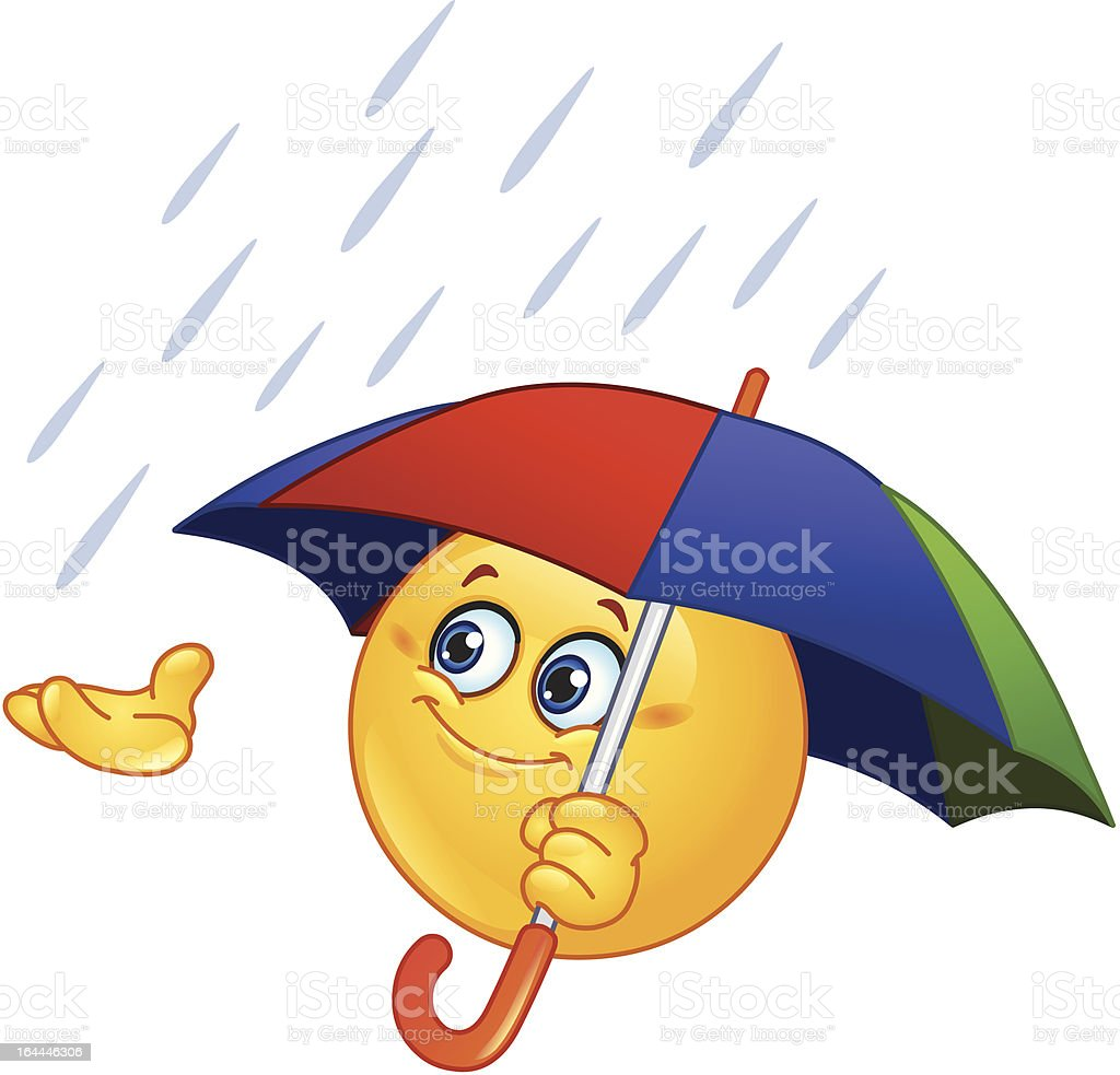 Emoticon with umbrella royalty-free emoticon with umbrella stock vector art & more images of anthropomorphic smiley face