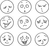 Emotion icons in black and white