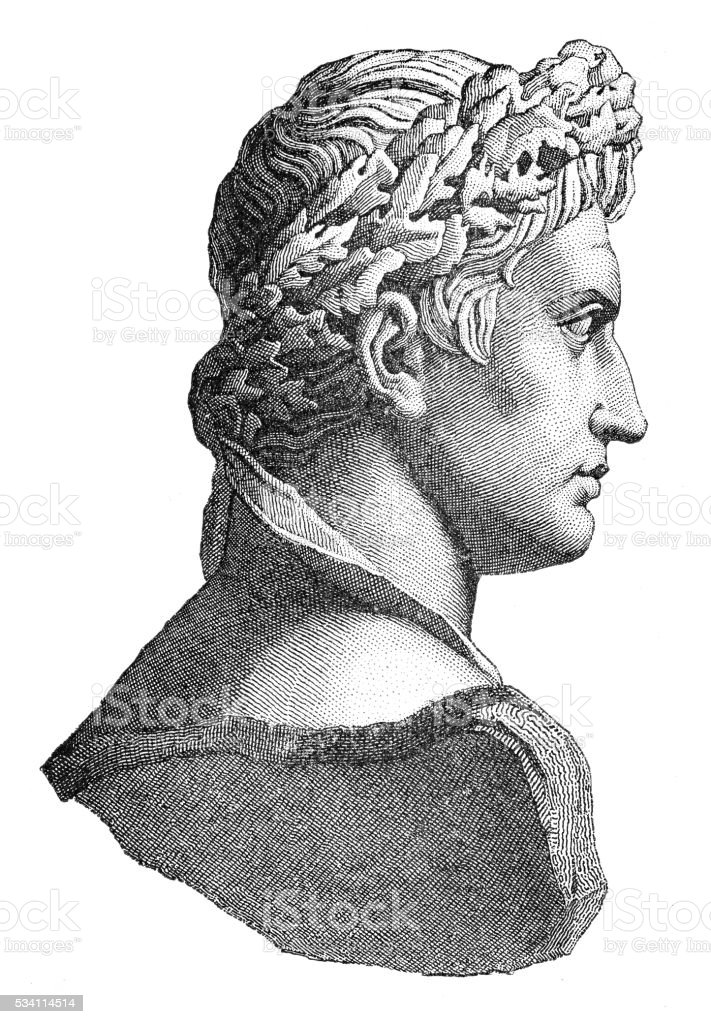 Emperor Julius Caesar engraving 1894 vector art illustration