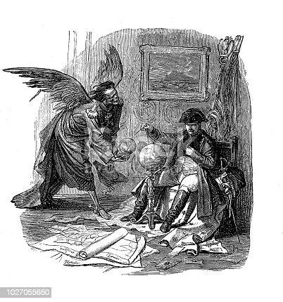 Illustration of a Emperor Napoleon Bonaparte and Death, Kaulbach Danse Macabre