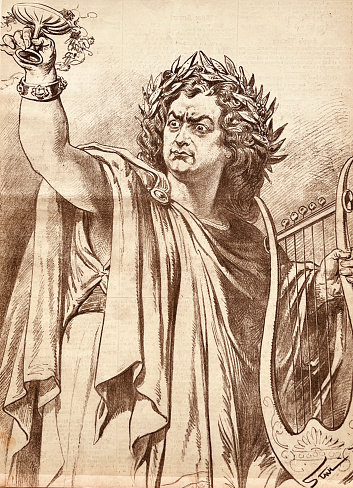 Emperor Nero with laurel wreath raises the cup