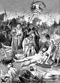Emperor Rudolf of Habsburg at the corpse of Ottokar after the battle of Marschfelde