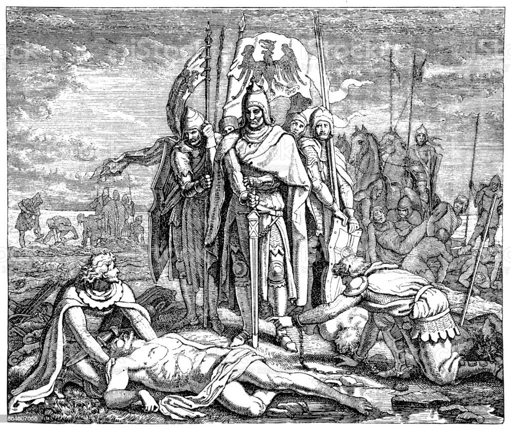 Emperor Rudolf stands victoriously over the corpse of Ottokar II of Bohemia, having defeated him at Marchfeld vector art illustration