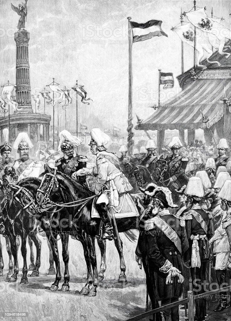 1873 年 9 月 2 日にベルリンの戦勝記念塔の就任で王子ビスマルクを ...