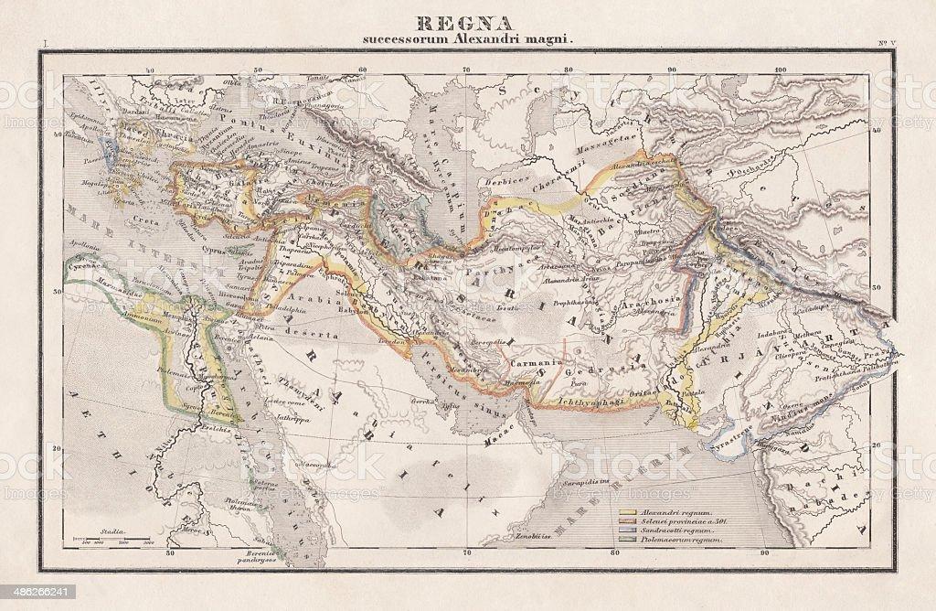 Empire de Alexandre o Grande, publicado em 1861 - ilustração de arte em vetor