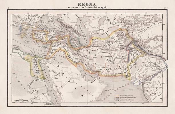ilustrações, clipart, desenhos animados e ícones de empire de alexandre o grande, publicado em 1861 - mapa do oriente médio