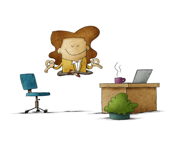 employee woman is floating in her office while relaxing. isolated vector art illustration