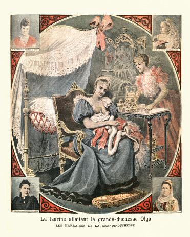 Empress Alexandra Feodorovna of Russia nursing the Grand Duchess Olga Nikolaevna