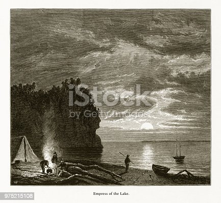 Very Rare, Beautifully Illustrated Antique Engraving of Empress of the Lake, Lake Superior, Minnesota, United States, American Victorian Engraving, 1872. Source: Original edition from my own archives. Copyright has expired on this artwork. Digitally restored.