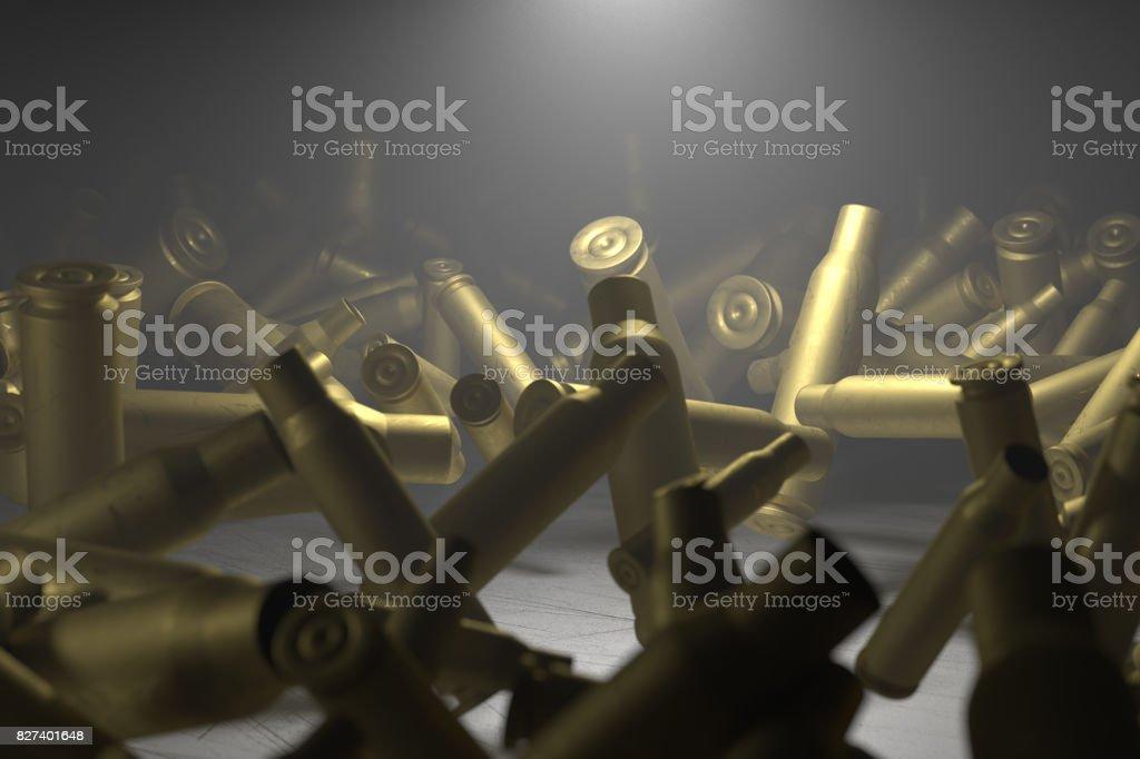 Empty bullet shells illuminated vector art illustration