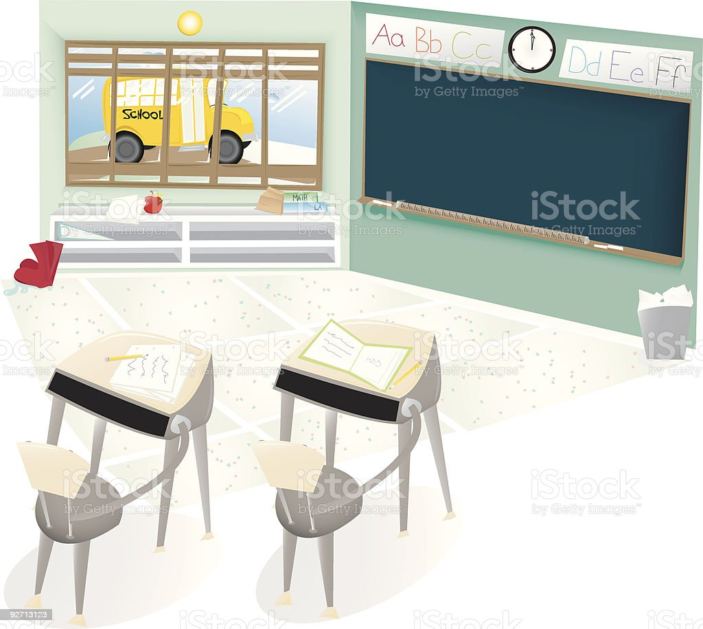 Empty Classroom royalty-free empty classroom stock vector art & more images of bench