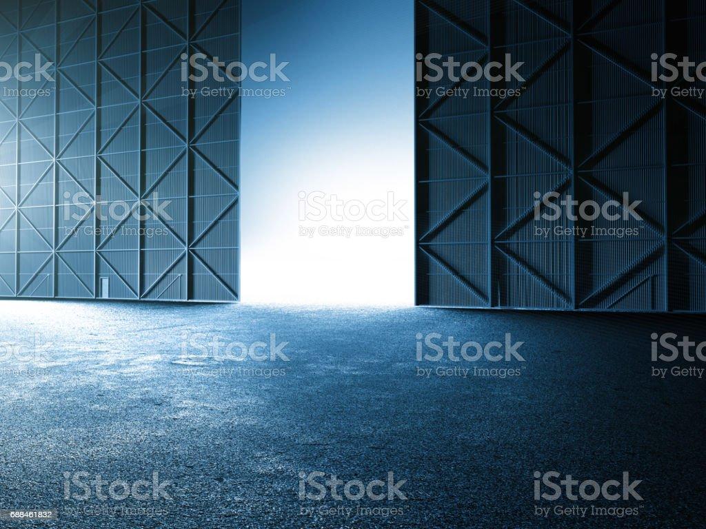Empty clean warehouse aircraft hanger car stage showroom 3D illustration vector art illustration