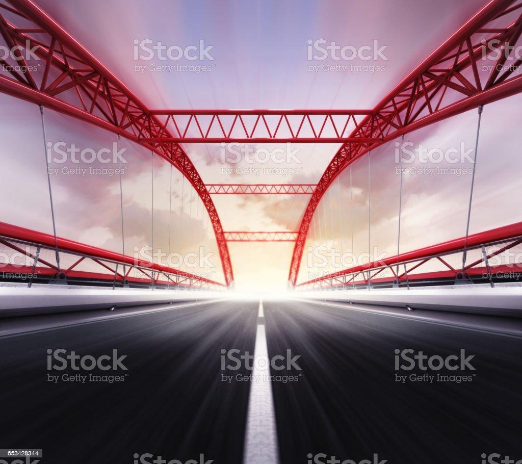empty highway bridge in motion blur vector art illustration