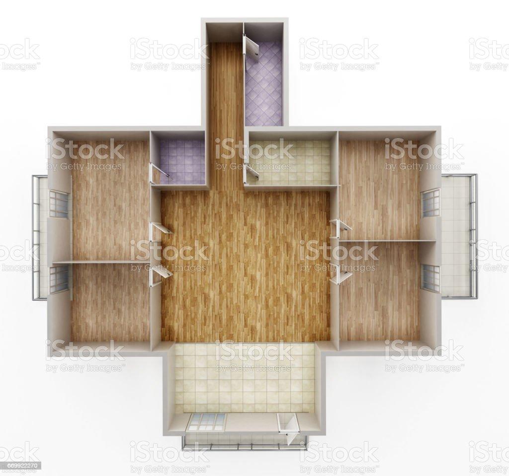 Modèle Intérieur Maison Vide Montrant Les Murs Portes Et Plancher ...
