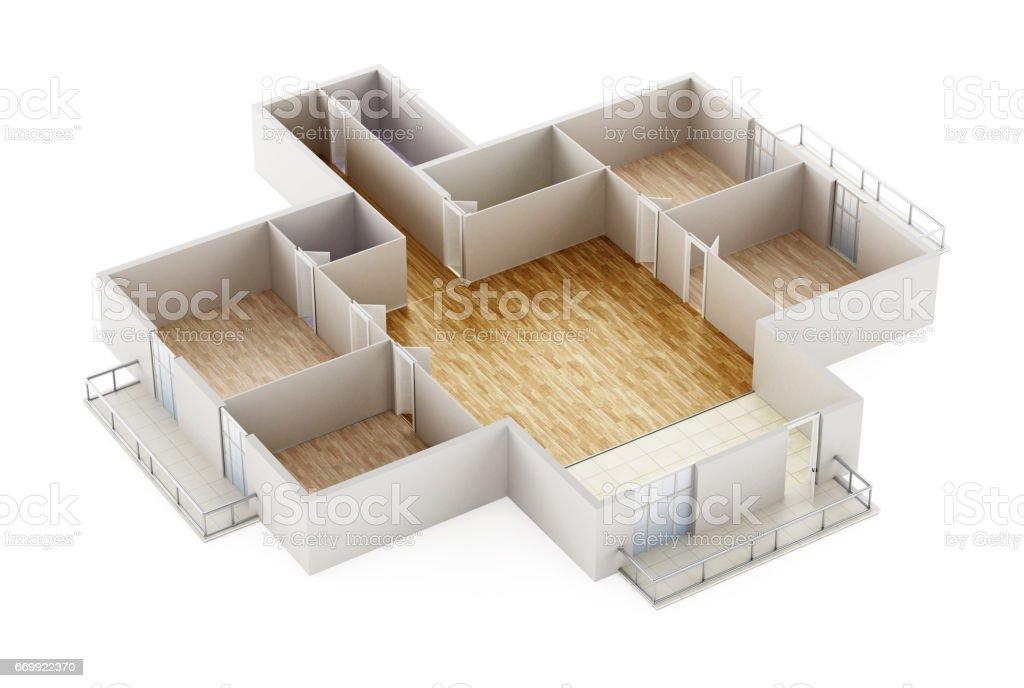 Empty house interior model showing walls, doors and floor vector art illustration