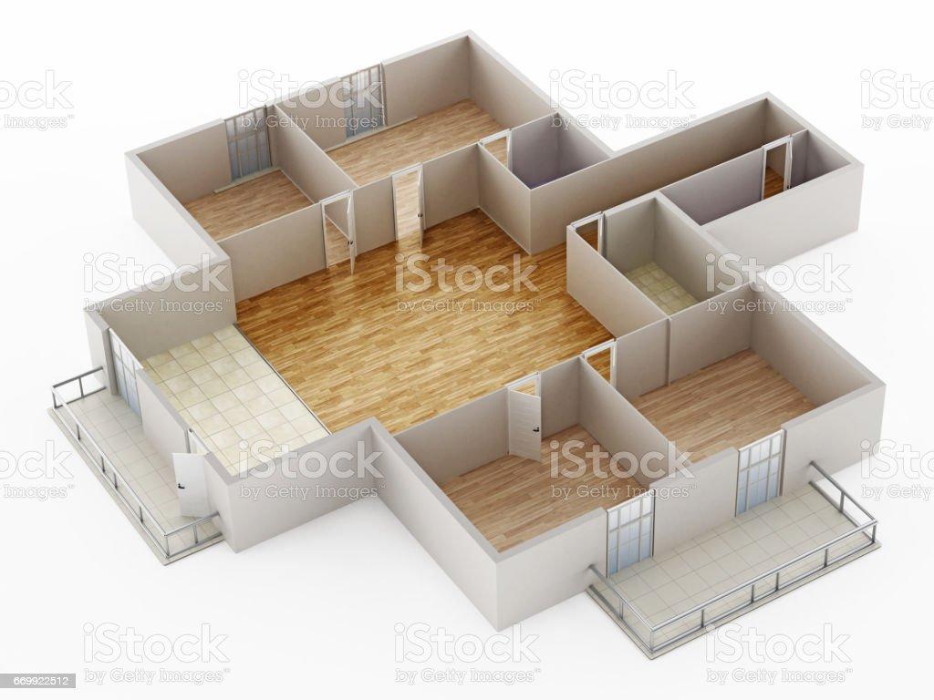 Leeres Haus Innen Modell Zeigt, Wände, Türen Und Boden Lizenzfreies Vektor  Illustration