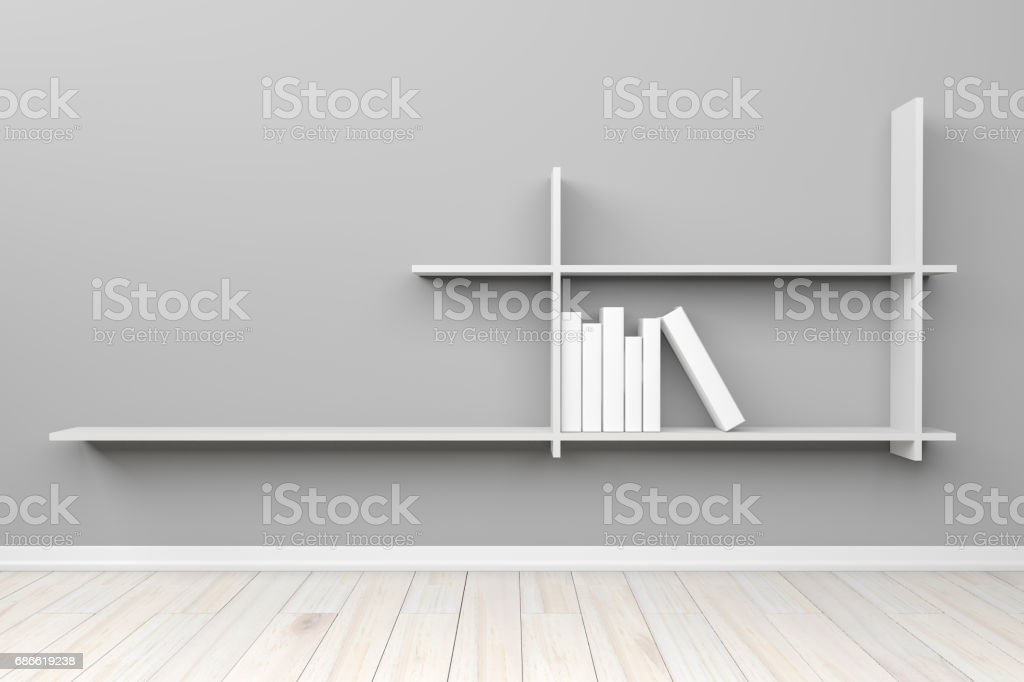 Empty interior light gray room white white shelf and wooden floor, For display of your products.  - 3D render image. royalty-free empty interior light gray room white white shelf and wooden floor for display of your products 3d render image stock vector art & more images of architecture
