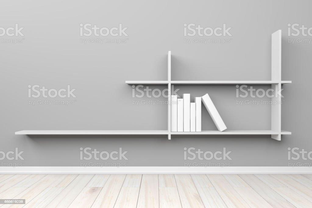 Étagère blanche vide intérieur lumière gris salle blanche et plancher en bois, pour l'affichage de vos produits.  -Rendu 3D image. Étagère blanche vide intérieur lumière gris salle blanche et plancher en bois pour laffichage de vos produits rendu 3d image – cliparts vectoriels et plus d'images de affaires libre de droits