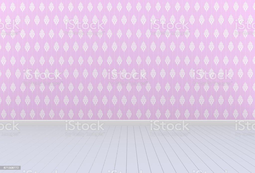 empty room with pink wall and wooden floor 3d rendering royaltyfree stock vector