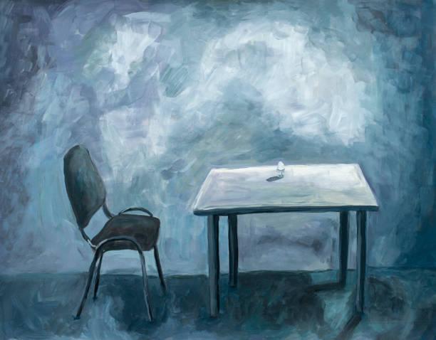 stockillustraties, clipart, cartoons en iconen met lege kamer met tafel en stoel. acrylverf. surrealistische sfeer. blauwe maandag. - blue monday