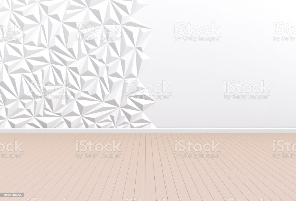 empty room with white wall and wooden floor 3d rendering royaltyfree stock vector